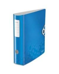 Leitz Classeur à levier, Wow 180°, Dos 80mm, Plastique polypro, Bleu, 11060036