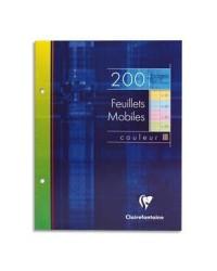 Clairefontaine Feuilles simples de couleurs, 170x220mm, Grands carreaux seyes, étui de 4x50 feuillets mobiles, 13511C