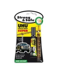 UHU Colle SUPER Strong & Safe, 7 g, sur carte blister, 039710