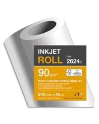 Clairefontaine bobine papier couché MAT traceur 90G 0.610X45 2624SC