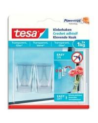 Tesa Powerstrips, Crochets adhésifs transparents, 1kg, boîte de 2, 77735-00000-00