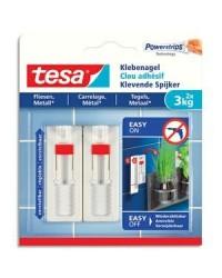Tesa Powerstrips, Clous adhésifs, Carrelage et métal, 3kg, Blanc, boîte de 2, 77764-00000-00