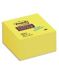 Post it Cube 350 notes adhésives, 76x76mm, Jaune, Super sticky, 85362 / 2028-S / 70071417300