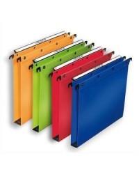 Elba 10 dossiers suspendus plastique tiroir fond 30MM polypro couleurs assorties 100330405