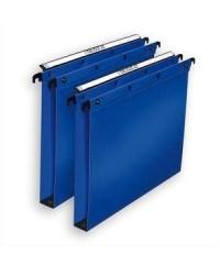 Elba 10 dossiers suspendus plastique tiroir fond 15MM polypro BLEU 100330376