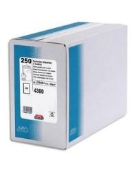 GPV boite 250 pochettes enveloppes blanches C4 229x324 fenêtre 50x100 auto adhésives 4300