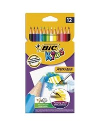 Bic, Crayons de couleur, Aquacouleur, étui de 12, 8575613