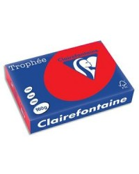 Clairefontaine ramette 250F papier A4 TROPHEE 160G ROUGE CORAIL 1004C