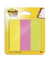 Post-it Marque pages en papier, 3 blocs de 100 feuilles NEON, 25127 / 671/3 / FT510114760