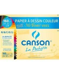 Canson étui 12F papier dessin couleur 24x32 160G mi-teinte vives 200002776