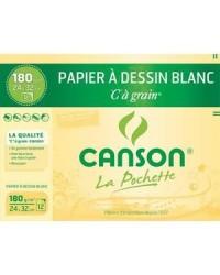 Canson étui 12F papier dessin blanc à grain 180G 24X32 200027102