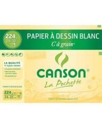 Canson étui 12F papier dessin blanc à grain 224G 24X32 200027103
