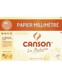 Canson pochette 12F de papier millimétré A4 90G 200067115
