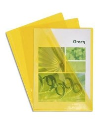 EXACOMPTA Pochettes coin, Haute qualité, A4, PVC 0,13 mm, jaune, Boîte de 100, 661235E