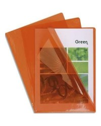 Exacompta boite 100 pochettes coin PVC 14/100e ORANGE 661245E