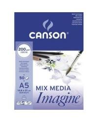 Canson bloc 50 feuilles papier dessin blanc 200G A5 200006009