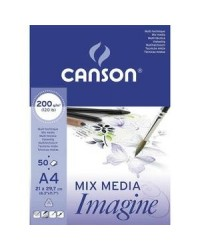 Canson bloc 50 feuilles papier dessin 200G A4 blanc 200006008