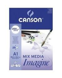 Canson, Bloc, Papier dessin, A1, 200G, Blanc, 25 feuilles, 200005969
