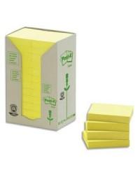 Post it Notes adhésives recyclées, 38x51mm, Jaune, Tour de 24, BP112