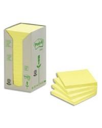Post it tour 16 blocs notes 100F 76X76 recyclé JAUNE BP113
