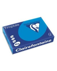 Clairefontaine Papier A4, 160g, TROPHEE, Bleu turquoise, Ramette de 250 feuilles, 1781C