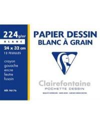 Clairefontaine pochette 12 feuilles papier dessin blanc 24X32 224G A grain 96176C