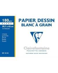 Clairefontaine pochette 10 feuilles papier dessin blanc A3 180G à grain 96185C