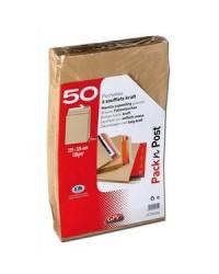 GPV paquet 50 enveloppes C4 229x324 soufflet 3cm KRAFT 120G PACK'N POST 39625