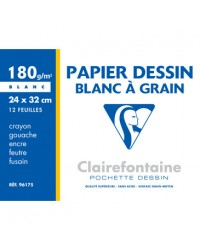 Clairefontaine, Papier dessin, Blanc, à grain, 240 x 320 mm, 180G, 96175C