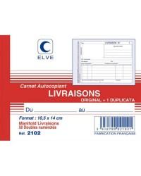Elve Carnet de livraisons, 105x140mm, 50 Duplicata autocopiants, 2102