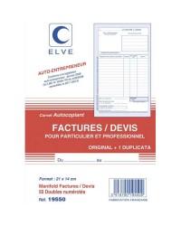 Elve Carnet factures devis, Auto entrepreneur, 210x140mm, 50 Duplicata autocopiants, 19550