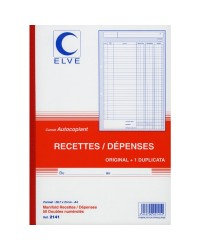 Elve carnet autocopiant RECETTES DEPENSES A4 50/2 dupli 2141