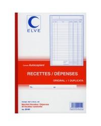 Elve Carnet Recettes Dépenses, A4 210x297mm, 50 Duplicata autocopiants, 2141