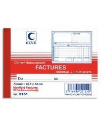 Elve Carnet Factures, 140x105mm, 50 Duplicata autocopiants, 2151