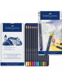 Faber castell étui métal de 12 crayons de couleur aquarellables GOLDFABER AQUA 114612