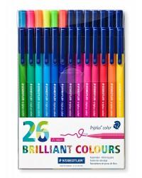 Staedtler pochette 26 feutres de coloriage 1MM TRIPLUS couleurs brillantes 323 TB26