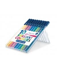 Staedtler étui 10 feutres de coloriage 1MM TRIPLUS couleurs brillantes 323 SB10