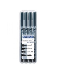 Staedtler étui 4 feutres noir permanent LUMOCOLOR pointes assorties 319WP4GS
