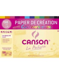 Canson pochette 12F papier creation 150G couleurs vives 200002756