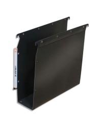 Elba 10 dossiers suspendus plastique armoire fond 80MM renforcés polypro NOIR 100330614