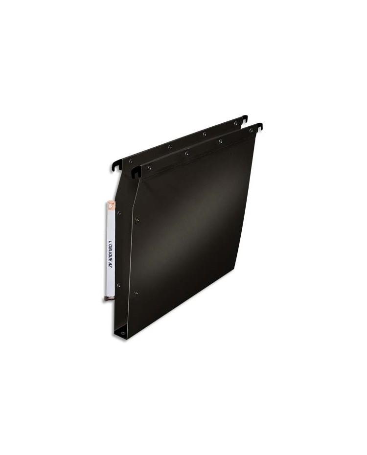 Elba 10 dossiers suspendus plastique armoire fond 30MM renforcés polypro NOIR 100330612