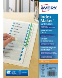 AVERY Intercalaires IndexMaker Carte, 12 touches, A4+, blanc, 01999061