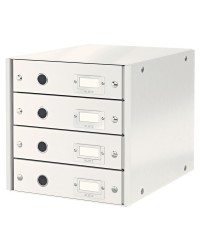 LEITZ Bloc de classement Click & Store WOW, 4 tiroirs, blanc, 60490001