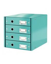 LEITZ Bloc de classement Click & Store WOW, 4 tiroirs, menthe, 60490051