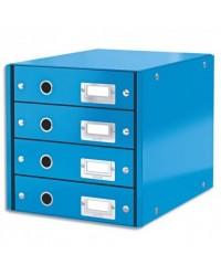 LEITZ Bloc de classement Click & Store WOW, 4 tiroirs, bleu, 60490036