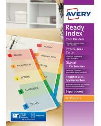 Avery 6 intercalaires numérotés READY INDEX carte bristol 200G 01734501