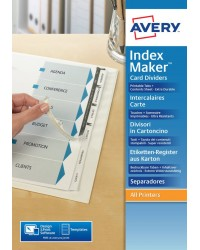 AVERY Intercalaires IndexMaker Carte, 6 touches, A4, blanc, 01638061