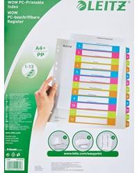 LEITZ Intercalaires en plastique WOW, numéroté, A4, 1-12, 12440000