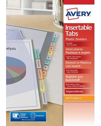 Avery Intercalaires à onglets personnalisables, 12 Positions, A4, Polypro, 5614501