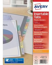 Avery Intercalaires à onglets personnalisables, 8 Positions, A4, Polypro, 5612501